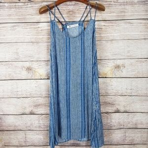 The Impeccable Pig Strappy Chambray Stripe Dress L